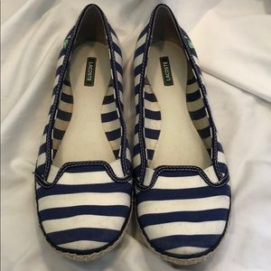 EUC!! Lacoste Blue + White Striped Flats